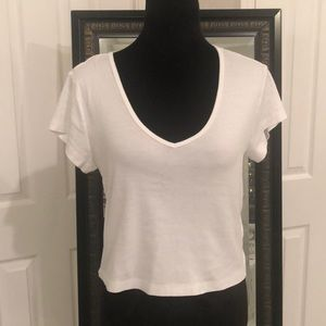 Tops - White mid-length/ Crop V-Neck tee